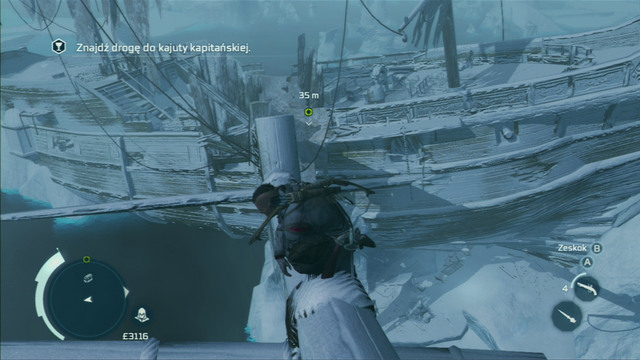 From the highest of them, jump onto the wreck and go to the lower level - Naval mission - The Ghost Ship - Captain Kidd's treasure - Assassins Creed III - Game Guide and Walkthrough