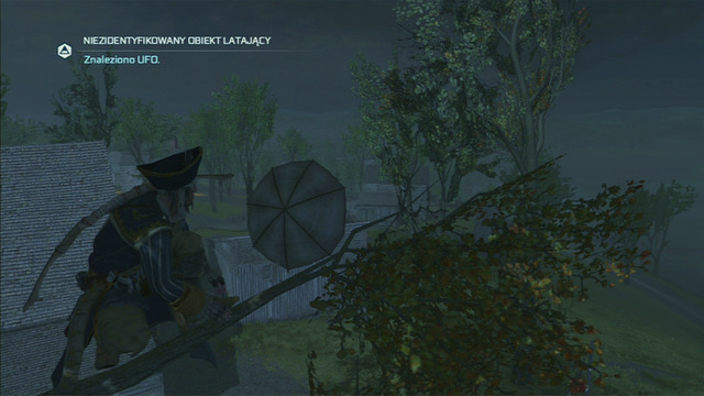 Jump between branches and you will reach an umbrella which people took for an UFO - The Frontiersmen Club in Assassins Creed III Remastered - Guild missions - Assassins Creed III Game Guide & Walkthrough