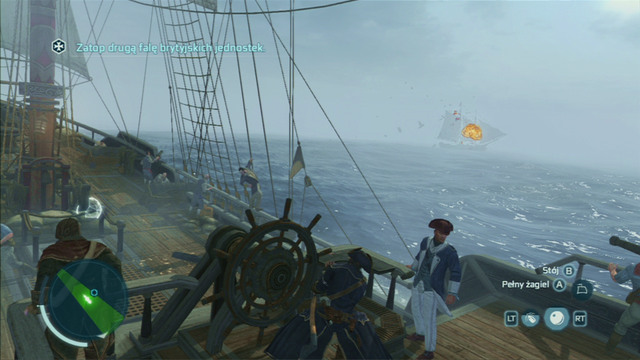 After the first attack, you will be attacked once again but this time a frigate will be amongst the enemy forces - French Involvement - Naval missions - Assassins Creed III - Game Guide and Walkthrough