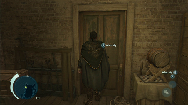 To the right there's a door which you have to open with a lockpick - Sequence 1 - Deadly Performance - Walkthrough - Assassins Creed III - Game Guide and Walkthrough