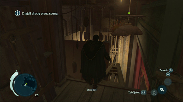On the other side of the door, jump onto the element of the scenography and head further to the left - Sequence 1 - Deadly Performance - Walkthrough - Assassins Creed III - Game Guide and Walkthrough