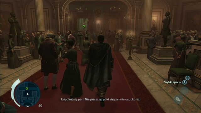 Kill the man with the attack button and afterwards move through the crowd to the opera exit, pointed by the green marker - Sequence 1 - Deadly Performance - Walkthrough - Assassins Creed III - Game Guide and Walkthrough