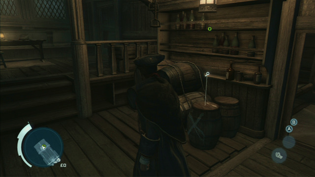 At the marked spot you will need to use Eagle Vision and examine the shining barrel on the right - Sequence 1 - Journey to the New World - Walkthrough - Assassins Creed III - Game Guide and Walkthrough