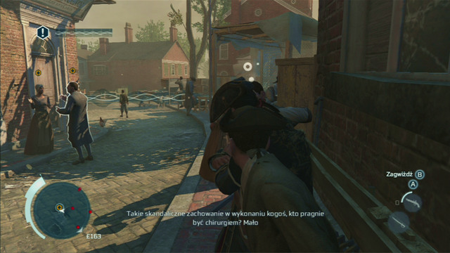 As you're eavesdropping, you cannot be noticed by civilians, so hide between the men leaning against the wall on the right - Sequence 2 - The Surgeon - Walkthrough - Assassins Creed III - Game Guide and Walkthrough