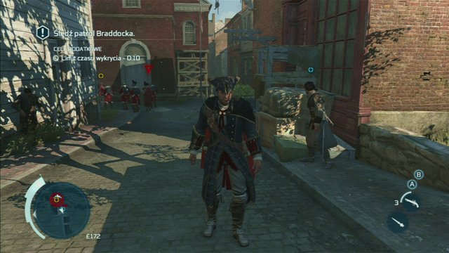 If one of the soldiers notices you, a yellow triangle will appear above his head, eventually changing to red - Sequence 2 - The Soldier - Walkthrough - Assassins Creed III - Game Guide and Walkthrough