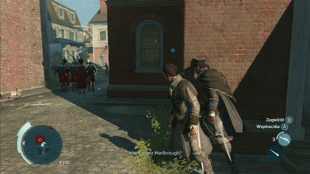 Follow the group while trying to keep distance and hide behind walls and between groups of people - Sequence 2 - The Soldier - Walkthrough - Assassins Creed III - Game Guide and Walkthrough