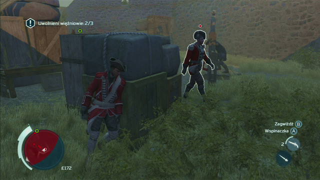He's walking beside the stocks, nearby the stone wall - Sequence 2 - Infiltrating Southgate - Walkthrough - Assassins Creed III - Game Guide and Walkthrough