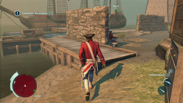 Right after opening the first stocks, you need to quickly run to the end of the stone wall of the left - Sequence 2 - Infiltrating Southgate - Walkthrough - Assassins Creed III - Game Guide and Walkthrough