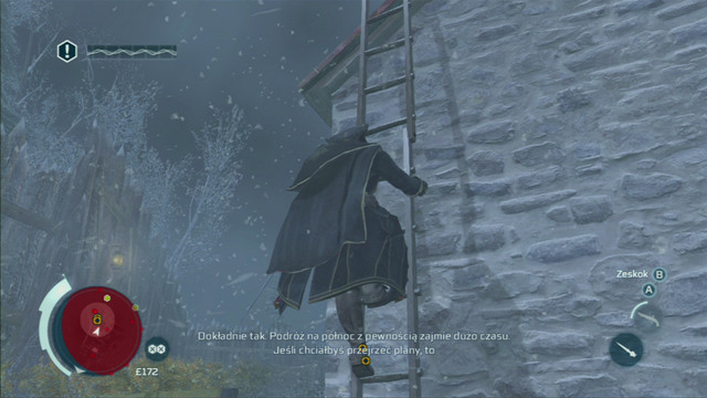 After they head onto the upper level, climb the nearby ladder and jump down from the roof into the haystack below - Sequence 3 - Execution is Everything - Walkthrough - Assassins Creed III - Game Guide and Walkthrough