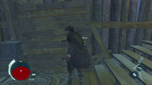 On the other side of the roof you will find a couple wooden planks which you can climb onto - Sequence 3 - Execution is Everything - Walkthrough - Assassins Creed III - Game Guide and Walkthrough