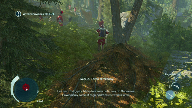 In order to complete it, go round the soldiers form the right and hide in the nearest pile of leaves - Sequence 3 - The Braddock Expedition - Walkthrough - Assassins Creed III - Game Guide and Walkthrough