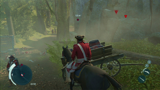 Your additional targets are the gunpowder carts placed nearby the road - Sequence 3 - The Braddock Expedition - Walkthrough - Assassins Creed III - Game Guide and Walkthrough