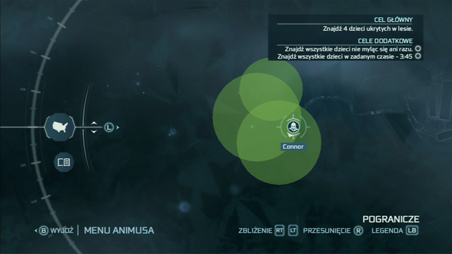 That will cause green circles inside of which the children have hidden to appear on the map - Sequence 4 - Hide and Seek - Walkthrough - Assassins Creed III - Game Guide and Walkthrough