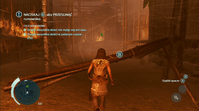 Get behind the palisade and head towards the green marker, avoiding any obstacles with the interaction button - Sequence 4 - Hide and Seek - Walkthrough - Assassins Creed III - Game Guide and Walkthrough
