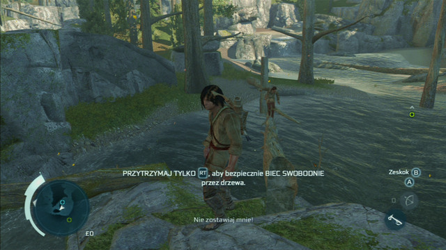 As you reach the rock at the shore, your friend will start drowning - Sequence 4 - Feathers and Trees - Walkthrough - Assassins Creed III - Game Guide and Walkthrough