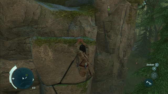 Hold onto the ledge and slowly move to the right end of the rock to climb up - Sequence 4 - Feathers and Trees - Walkthrough - Assassins Creed III - Game Guide and Walkthrough