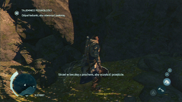 The man will plant explosives by the cave and you will have to shoot them with the pistol - Achilles - Homestead - Assassins Creed III - Game Guide and Walkthrough