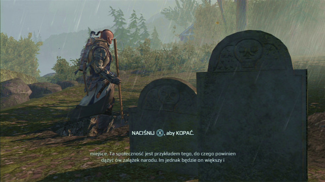 The mission will end when you dig a grave for your mentor with the attack button, while listening to what he wrote in his letter - Achilles - Homestead - Assassins Creed III - Game Guide and Walkthrough