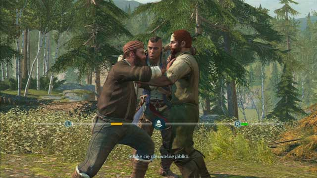 To do that, control the two points with the analog sticks so that they push back the two lines - Godfrey and Terry - Homestead - Assassins Creed III - Game Guide and Walkthrough