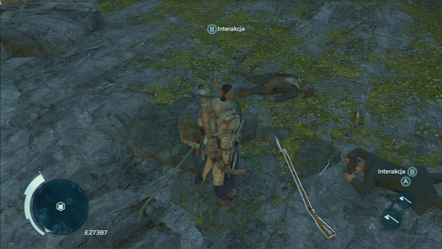 Quickly defeat the men, approach the line hanging from the rock and press the interaction button to save Whittler - Lance - Homestead - Assassins Creed III - Game Guide and Walkthrough