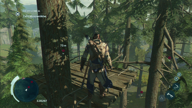 With your master taking care of her, climb onto the tree marked on the map and wait for the poachers to appear - Myriam - Homestead - Assassins Creed III - Game Guide and Walkthrough