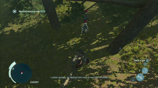 Quickly jump onto a branch above the first enemy, aim at him and hold down the attack button - Myriam - Homestead - Assassins Creed III - Game Guide and Walkthrough