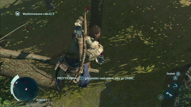 Kill the second enemy using the same method, but this time lean the analog stick towards yourself and Connor will jump down to the ground, hanging the enemy on the branch - Myriam - Homestead - Assassins Creed III - Game Guide and Walkthrough