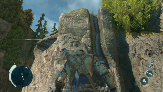 Start off by climbing onto the rock and jump to the wide crack - Norris - Homestead - Assassins Creed III - Game Guide and Walkthrough