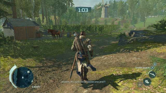 Don't get too far from him, as right behind the bridge you will have to turn left and inform the woman's husband - Lyle White - Homestead - Assassins Creed III - Game Guide and Walkthrough