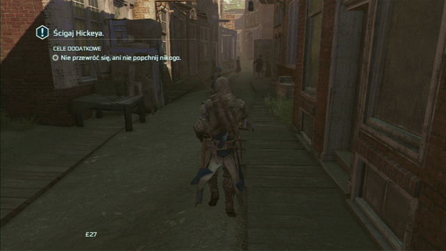 Afterwards head to the second alley on the right and turn left - Sequence 8 - Something on the Side | Assassins Creed III Remastered Walkthrough - Walkthrough - Assassins Creed III Game Guide & Walkthrough