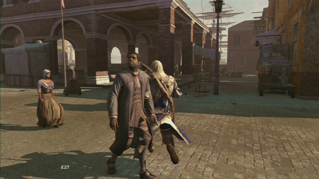 At the end of the street you will see an indoor market - Sequence 8 - Something on the Side | Assassins Creed III Remastered Walkthrough - Walkthrough - Assassins Creed III Game Guide & Walkthrough