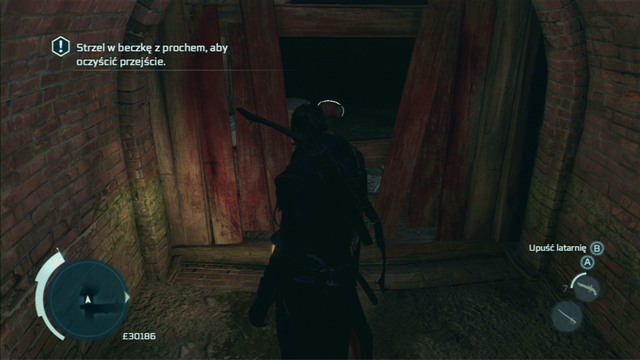 To clear the passage, shoot the gunpowder barrel on the other side of the barricade - Boston - Underground - Assassins Creed III - Game Guide and Walkthrough