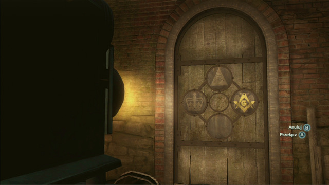 To open the door, place the lens in the following order: eye above, crown on the right, letter below and the eagle on the left - New York - Underground - Assassins Creed III - Game Guide and Walkthrough