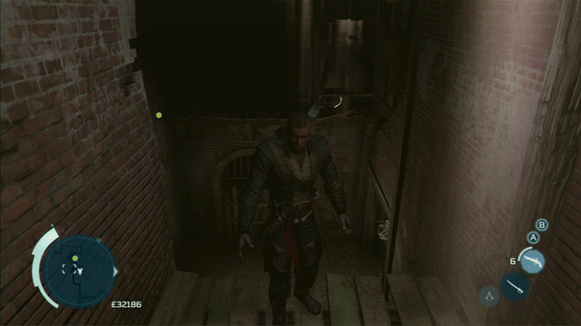 To get past this obstacle, jump right from the left wall and blow up the barrel on the other side of the room - New York - Underground - Assassins Creed III - Game Guide and Walkthrough