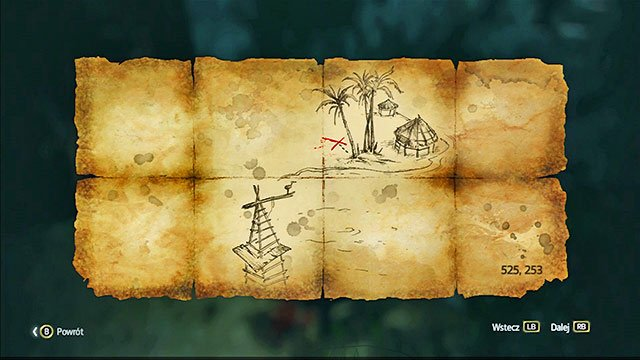 The treasure is in the North-Western part of the isle, w next to the Animus Fragment and a chest - Isla Providencia | Treasure maps - Treasure maps - Assassins Creed IV: Black Flag Game Guide & Walkthrough