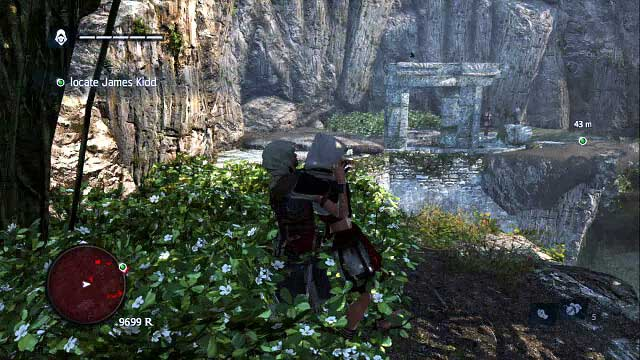 Deal with the last, third guard and jump towards the ruins in the background of the screenshot, where you need to hide immediately next to the assassins here - 02 - Nothing is True... - Sequence 4 - Assassins Creed IV: Black Flag - Game Guide and Walkthrough