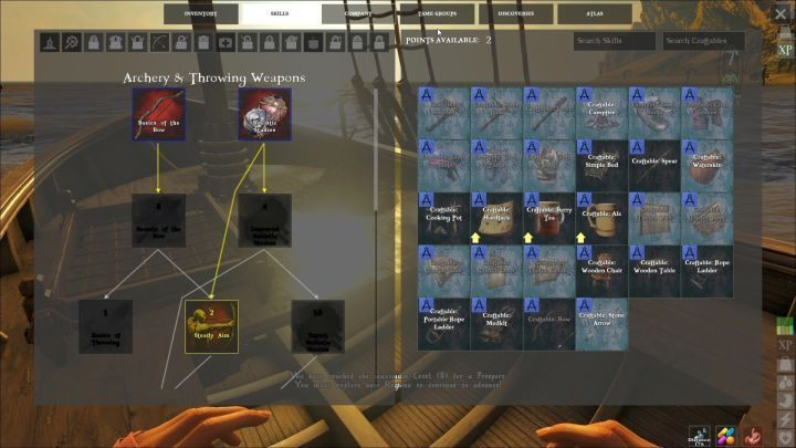 The screen showing all of the skill trees in the game. - Stats and abilities in ATLAS Game - Game basics - ATLAS Guide and Tips