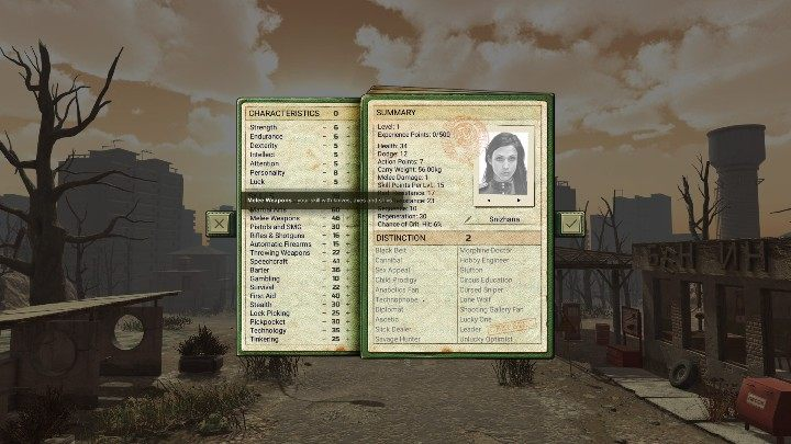 In the Skills tab, you have to adjust what character you would like to create - Character creation in ATOM RPG - Character creation - ATOM RPG Guide