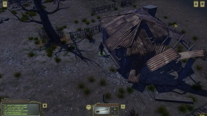 On the right side of the city you can find an abandoned hut - How to get a golden walnut in ATOM RPG? - FAQ - ATOM RPG Guide