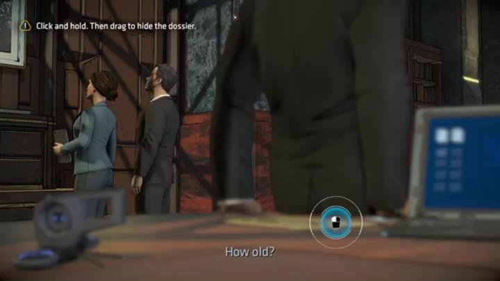 When Wayne sits at the desk, hide the documents using the right button - Chapter 3 - Goodbye, Old Friend | Episode 1 - Episode 1 - Batman: The Telltale Series - The Enemy Within Game Guide