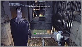 Выйдите из вентиляционных отверстий, поверните направо и спасите первого охранника, прежде чем он потеряет хватку и упадет - Прохождение - Интенсивное лечение - часть 1 - Прохождение - Бэтмен: Убежище Аркхэма - Руководство по игре и прохождение