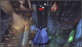 Throw a Batarang at the question mark and QUICKLY start running towards the cage #1 - Batman trophies (01-14) | Park Row - Park Row - Batman: Arkham City Game Guide
