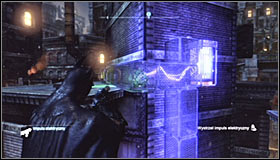 Its important to quickly send a charge towards the second electromagnet found above the first one #1 - Batman trophies (25-36) | Park Row - Park Row - Batman: Arkham City Game Guide