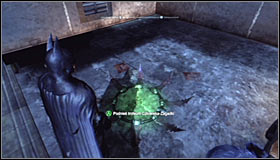 Make the Batarang fly through the whole shaft and hit the interactive question mark #1 - Batman trophies (25-36) | Park Row - Park Row - Batman: Arkham City Game Guide