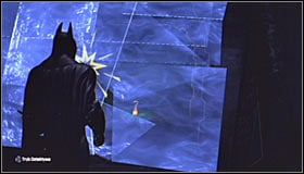 Aim at the balcony below the neon sign and use the Grapnel Gun to get there #1 - Batman trophies (01-10) | Amusement Mile - Amusement Mile - Batman: Arkham City Game Guide