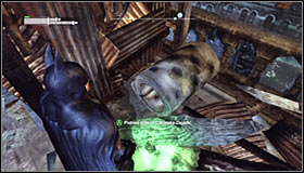 Turn on the Detective Mode thanks to which you should note that the wooden obstacle can be destroyed with Explosive Gel #1 - Batman trophies (11-18) | Amusement Mile - Amusement Mile - Batman: Arkham City Game Guide
