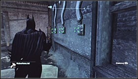 Approach each of the question marks using the grapple points (Batclaw) and spray Explosive Gel onto them #1 - Batman trophies (11-18) | Amusement Mile - Amusement Mile - Batman: Arkham City Game Guide