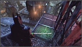Use the Grapnel Gun or the gliding to reach the upper balconies of the leaned radio tower #1 - Batman trophies (19-28) | Amusement Mile - Amusement Mile - Batman: Arkham City Game Guide