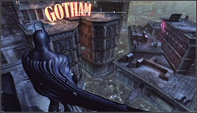 In order to solve this puzzle, get onto the roof of the GCPD building, located south-east from here (screen above) - Batman trophies (29-37) | Amusement Mile - Amusement Mile - Batman: Arkham City Game Guide