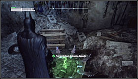 Stay on the pressure plate on which you have landed and throw a Batarang into the interactive question mark for it to light up #1 - Batman trophies (17-25) | Industrial District - Industrial District - Batman: Arkham City Game Guide